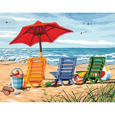 PAINTWORKS Paint by Number Kit BEACH CHAIRS 14 x 11 inches Dimensions
