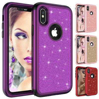 Shockproof Bling Armor Case for iPhone Xs Max/Xr/X 7 8 6 Heavy Duty Hybrid Cover
