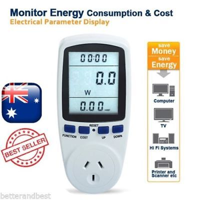 Power Meter Energy Consumption Electricity Usage Monitor Volts Amps Analyzer #TG