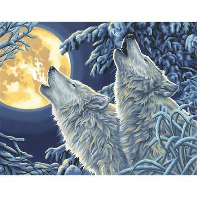 PAINTWORKS Paint by Number Kit MOONLIGHT WOLVES 14 x 11 inches Dimensions