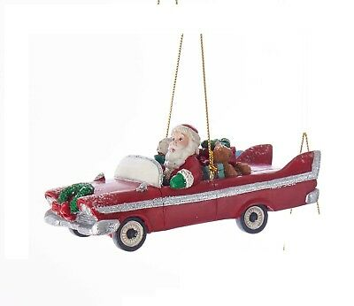Kurt Adler Christmas Ornament Santa In a Red Retro Car Mid Century Style