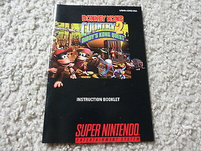 Donkey Kong Country 2 Diddy Super Nintendo SNES Manual Instruction Booklet
