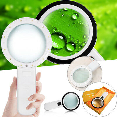30X High Power Handheld Magnifying Double Glass Lens with 12 LED Light Magnifier