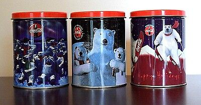 Set of 3 Coca-Cola Tins - Polar Family-Group Bears-Skiing Bear Canisters L@@K!