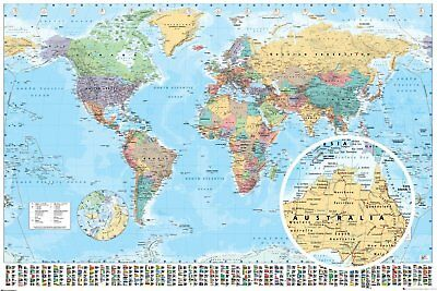 COLOURFUL  MAP OF THE WORLD WITH FLAGS Maxi Poster 61 x 91.5cm GN0214