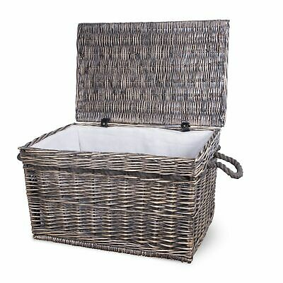 Vintage Wicker Trunk Baby Nursery Toys Blanket Storage Chest Basket Box Bedside