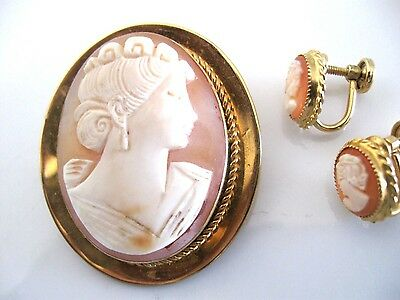 Vintage Gold Filled Carved Cameo Brooch And Earring Set