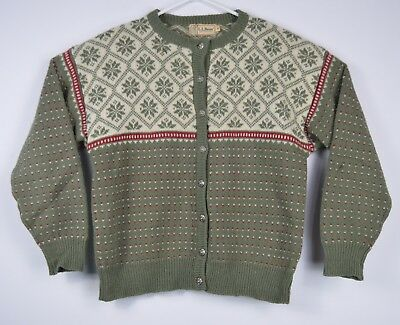 LL Bean Pure Wool Womens Made In Hong Kong Ugly Christmas Sweater Pewter Buttons