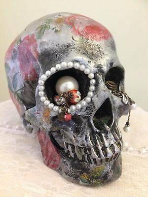Hand decorated resin silver/black effect skull head 'floral treasure'