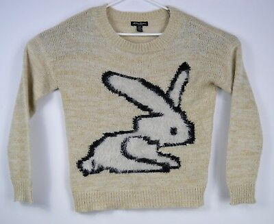 Streetwear Womans Pullover Ugly Christmas Knit Sweater Size Small Fluffy Bunny