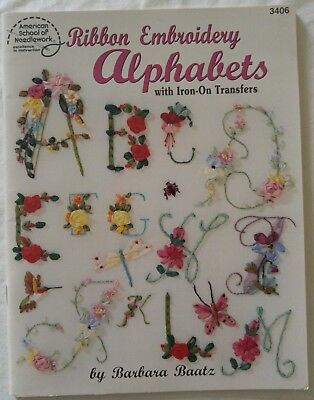 Ribbon Embroidery Pattern Book ALPHABETS with Iron-On Transfers by Barbara Baatz