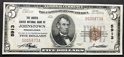 1929 $5 Johnstown Pennsylvania National Banknote Ch. 5913 Forbidden Title