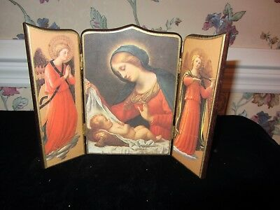 Painted Wood Tabletop Screen: Mary And Baby Jesus; Italy; Gold Trim Brass Hinges