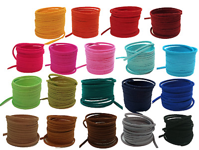 Faux Suede Leather Cord thong 3mm x 1,5mm + *Free leather end caps*