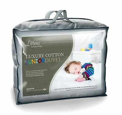 100% Luxury Fine Cotton Junior Cot Bed Duvet Quilt & Pillow Bundle, Kids Toddler