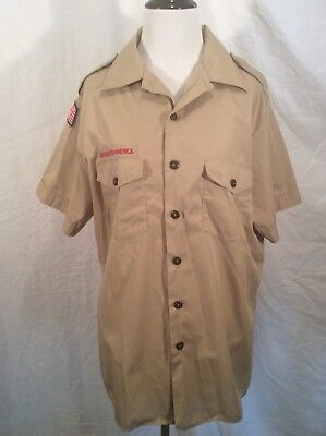 Boy Scouts of America BSA Short Sleeve Official Mens Tan Beige Shirt Size Large