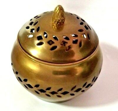 Small Brass Trinket Box Metal Bowl With Lid Cover Candy Jar Home Decor India VG