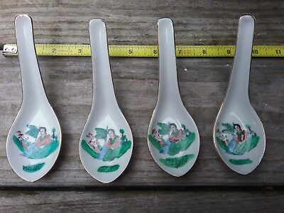 4 Chinese Japanese Export Porcelain Spoons Hand Painted Classic Lady Marked