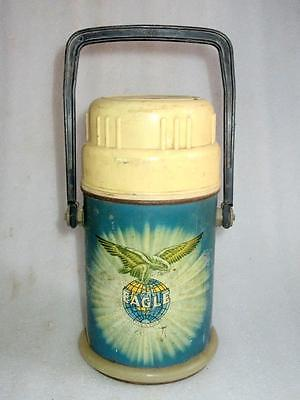1960's Vintage Old Eagle Brand Mark Blue Color Metal Hot Thermos Made In India