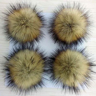5inch Large Faux Raccoon Fur Pom Pom Ball with Press Button for Knitting Hat zh