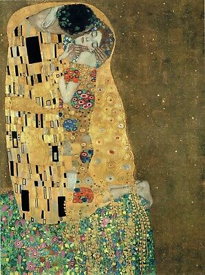 The Kiss Gustav Klimt 1907-08 Poster Canvas Picture Art Print Premium A0-A4