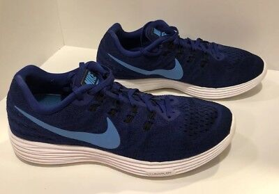 the latest ea58a a1ca5 Nike Lunarlon Men s Fly Knit Blue Sneaker Running Shoes Size 9.5 Free  Shipping