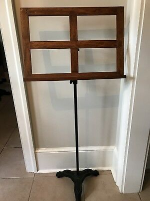 Antique Victorian Music Stand Iron and Oak
