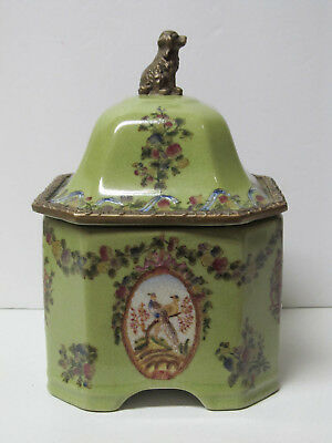 Fine Old Chinese Octagonal Porcelain Covered Jar with Hua Rong Tang Zhi mark
