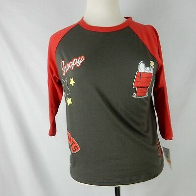b7b1ea74f2e35 PEANUTS WOMENS GRAPHIC Tee Shirt Top Size Small Snoopy Red Grey ...