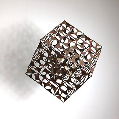 "15"" Vintage Abstract Brutalist Metal Cube Sculpture Table Mid Century Modern"