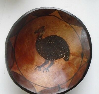 """AFRICAN TRIBAL HAND CARVED HANDPAINTED WOODEN BOWL with Guinea hen/fowl 9"""" dia."""