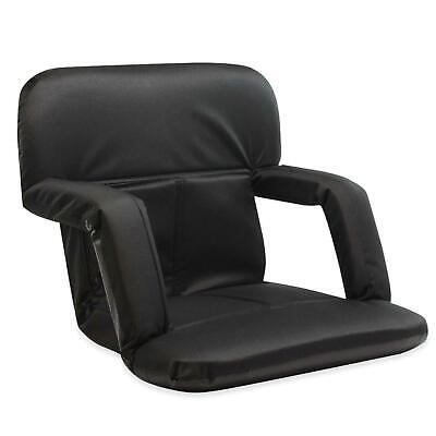 Stadium Bleacher Seat Reclinable Chair With Cushion For Games Tailgates - Black