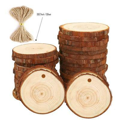 "Small Natural Wood Slices 30 Pcs 2.4""-2.8"" with Holes for Crafts Ornam"