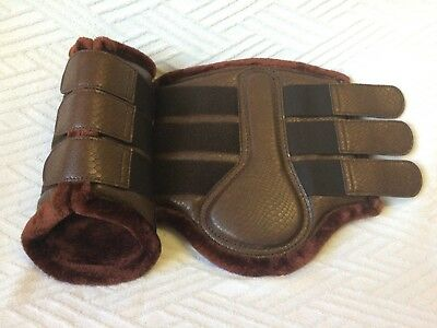 Snake Effect Fleece Lined Brushing Tendon Dressage Flat Turnout Boots Brown S-Xl