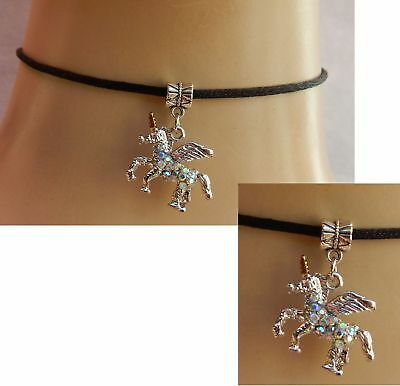 Unicorn Choker Necklace Pendant Handmade Adjustable Black Silver Fashion Women