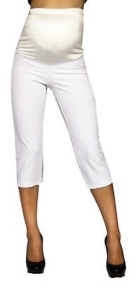 a5753f76fde9a White Capri Cropped Skinny Pants Bottoms Maternity Elastic Band Stripped  Stretch