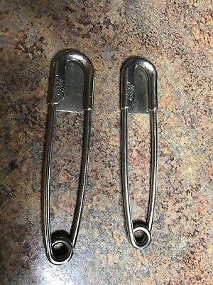 Vintage RISDON Key Tag & Large Safety Pins Horse Blanket Clip - LOT OF 2