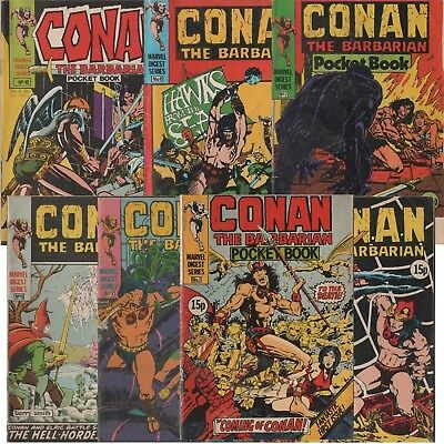 Conan The Barbarian Pocket Book No.1,2,3,6,7,8,10 [Marvel Digest x7 Barry Smith]