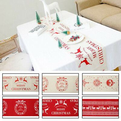 Noel Imprimer Nappe Table Runner Couverture Habiller Decoration Fete
