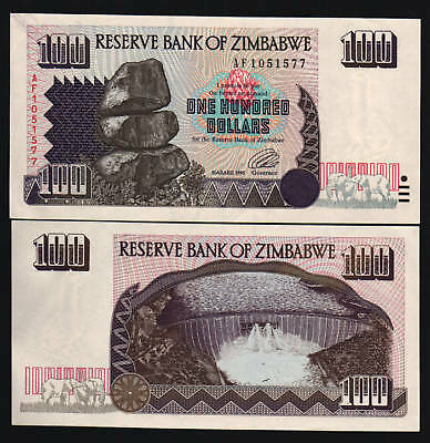 Zimbabwe 100 Dollars P9 1995 Elephant Af *replacement* Unc Rare Money Bank Note