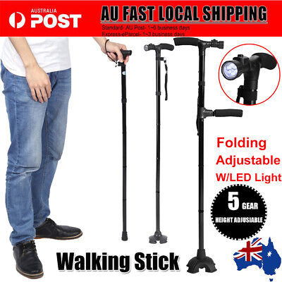 Walking Stick Cane Adjustable Foldable W/ LED Light Strap Handle Anti-shock AU