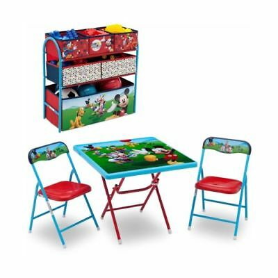 Disney Mickey Mouse Toddler Children Playroom Table Chairs Bins New Free Ship