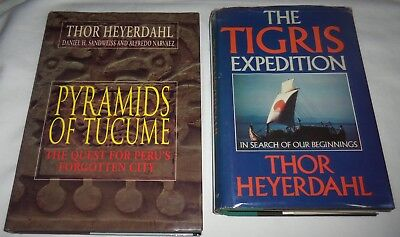 2 THOR HEYERDAHL HCw/dj Bks PYRAMIDS OF TUCUME 1995 + THE TIGRIS EXPEDITION 1981