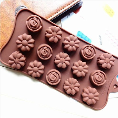 15 Cavity Rose Flower Silicone Mold Chocolate Cake Mould Baking Tool Ice Tray
