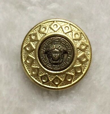 One (1) Vintage Versace Medusa Head Antique Brass and Gold Metal 2-Piece Button