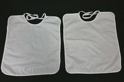 Lot Of 2 Vintage Matching White Linen Baby Bibs Square Plain Christening Twins