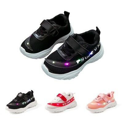Baby Toddler Boys Girls Luminous Sneakers Kids Light Up LED Trainers Shoes 1-4T