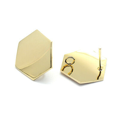20pcs Brass Hexagon Earring Posts Gold Plated Glazed Nickel Free Findings 16.5mm