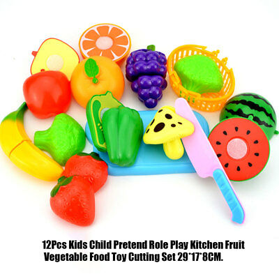 18Pcs Kids Fruit Vegetable Food Pretend Role Play Kitchen Cutting Toy Funny