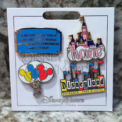 Disneyland Icons Pin Set with Disney Entrance Plaque Castle Balloons Hotel Sign